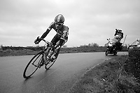 Jurgen Roelandts (BEL/Lotto-Soudal) goes on a solo attack and manages to stay ahead for almost 60km before an elite group catches him with less then 15km to go.<br /> <br /> 77th Gent-Wevelgem 2015