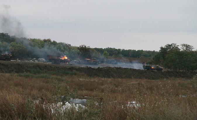 In der Nähe der ostukrainischen Stadt Novoaidar in der Region Lugansk wurde in der Nacht vom 4. September 2014 eine Panzer-Brigade der Ukrainischen Armee mit Raketen beschossen. Rund um die attackierte Stelle brannte es danach für mehrere Tage.