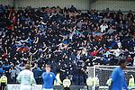 Rangers fans imitating the Celtic fans huddle after going 2-1 up