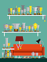 Collection of lots of trophies and gold medals in living room