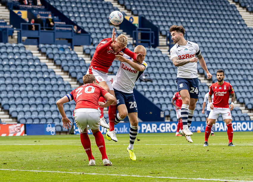 Preston North End's Sean Maguire (right) heads at goal <br /> <br /> Photographer Andrew Kearns/CameraSport<br /> <br /> The EFL Sky Bet Championship - Preston North End v Nottingham Forest - Saturday 11th July 2020 - Deepdale Stadium - Preston <br /> <br /> World Copyright © 2020 CameraSport. All rights reserved. 43 Linden Ave. Countesthorpe. Leicester. England. LE8 5PG - Tel: +44 (0) 116 277 4147 - admin@camerasport.com - www.camerasport.com