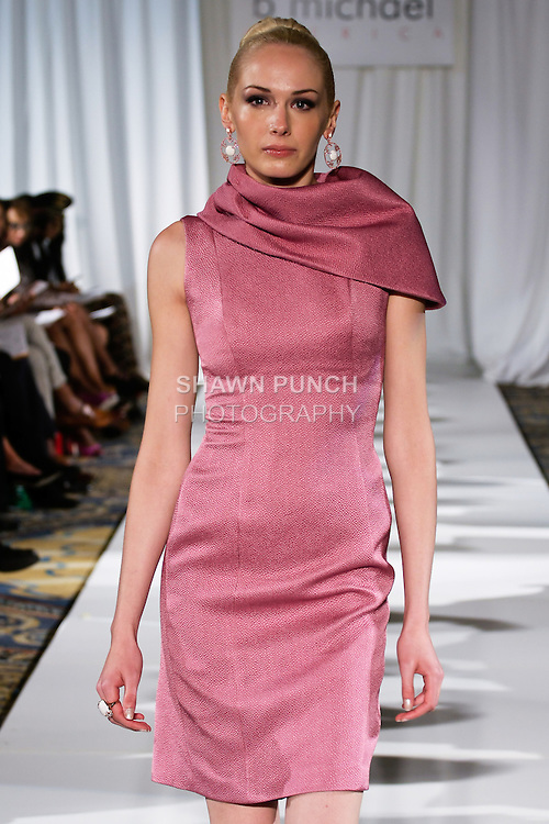Christine walks runway in a vintage rose cobra embossed silk one shoulder exaggerated collar sheath, from the b Michael AMERICA Couture Spring 2013 collection during Mercedes-Benz Fashion Week Spring 2013, at the Jumeirah Essex House on September 12, 2012.