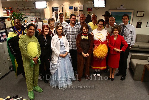 """Sep. 14, 2012; Los Angeles, CA - Matt Holliday and David Freese of the St. Louis Cardinals visit the set of """"The Office"""".  Jenna Fischer, Ellie Kemper, and.Phyllis Vance, three regulars on the show, are all from St. Louis and are big St. Louis Cardinals fans."""