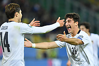 Italy's Riccardo Orsolini celebrates with Federico Chiesa  after scoring the 8-0 goal <br /> Palermo 18-11-2019 Stadio Renzo Barbera <br /> UEFA European Championship 2020 qualifier group J <br /> Italy - Armenia <br /> Photo Carmelo Imbesi / Insidefoto