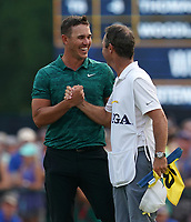 Brooks Koepka(USA) celebrates winning the 100th PGA Championship with his caddie Ricky Elliott at Bellerive Country Club, St. Louis, Missouri.<br /> Picture Tom Russo / Golffile.ie<br /> <br /> All photo usage must carry mandatory copyright credit (&copy; Golffile | Tom Russo)