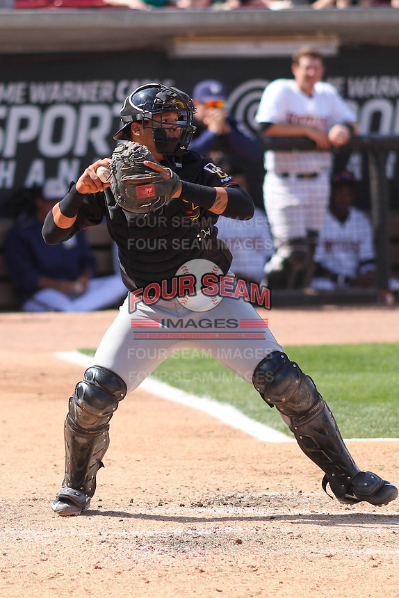 Quad Cities River Bandits catcher Alfredo Gonzalez (8) throws down to second base during a game against the Wisconsin Timber Rattlers on May 2nd, 2015 at Fox Cities Stadium in Appleton, Wisconsin.  Quad Cities defeated Wisconsin 5-2.  (Brad Krause/Four Seam Images)