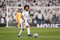 6th February 2020; Estadio Santiago Bernabeu, Madrid, Spain; Copa Del Rey Football, Real Madrid versus Real Sociedad; Marcelo Viera (Real Madrid)  looks up for a passing lane