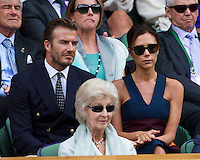 July 6, 2014, UK, London, Tennis, Wimbledon, AELTC, Men's Singles Final:  Novak Djokovic (SRB) vs Roger Federer (SUI), Pictured: In the Royal Box Victoria and David Beckham <br /> Photo: Tennisimages/Henk Koster