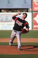 Ben Paullus (14) of the Lake Elsinore Storm pitches against the Inland Empire 66ers at San Manuel Stadium on July 31, 2016 in San Bernardino, California. Inland Empire defeated Lake Elsinore, 8-7. (Larry Goren/Four Seam Images)
