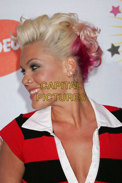 PINK.Nickelodeon's 19th Annual Kids' Choice Awards - Orange Carpet at the Pauley Pavilion,  Westwood, California, .USA, 1st April 2006..portrait headshot pinnk  red and black striped dress dyed hair .Ref: ADM/RE.www.capitalpictures.com.sales@capitalpictures.com.©Russ Elliot/AdMedia/Capital Pictures.