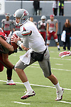 Luke Falk looks to scramble during the annual Washington State Cougar spring game, the Crimson and Gray game, at Joe Albi Stadium in Spokane, Washington, on April 25, 2015.