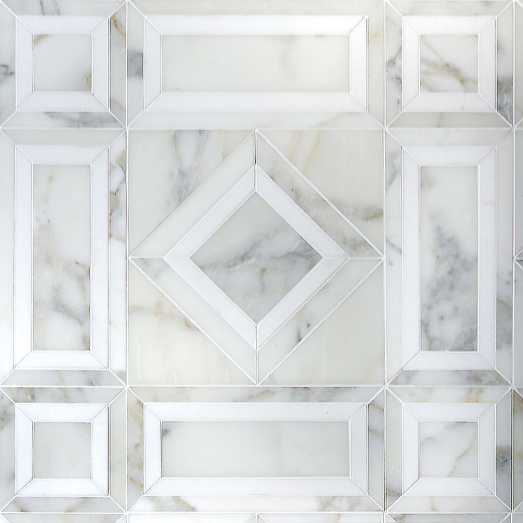 Lucius, a hand-cut stone mosaic, shown in polished Calacatta Tia and honed Thassos, is part of the Palazzo collection by New Ravenna.