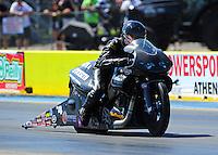 Sept. 24, 2011; Ennis, TX, USA: NHRA pro stock motorcycle rider Matt Smith during qualifying for the Fall Nationals at the Texas Motorplex. Mandatory Credit: Mark J. Rebilas-