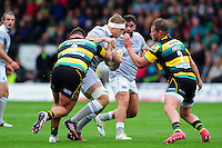 Tom Ellis of Bath Rugby takes on the Northampton Saints defence. Aviva Premiership match, between Northampton Saints and Bath Rugby on September 3, 2016 at Franklin's Gardens in Northampton, England. Photo by: Patrick Khachfe / Onside Images