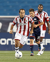 Chivas USA midfielder Nick LaBrocca (10) brings the ball forward. In a Major League Soccer (MLS) match, the New England Revolution tied Chivas USA, 3-3, at Gillette Stadium on August 29, 2012.