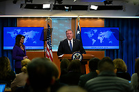 United States Secretary of State Mike Pompeo speaks to members of the media during a press briefing at the Department of State in Washington D.C., U.S., on Tuesday, January 7, 2020.  Pompeo defended United States actions in Iran, where an airstrike killed Iranian military leader Qasem Soleimani.<br /> <br /> Credit: Stefani Reynolds / CNP/AdMedia