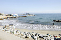 Veduta di una spiaggia a Sanremo.<br /> A view of a beach of Sanremo.<br /> UPDATE IMAGES PRESS/Riccardo De Luca