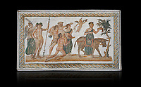 Picture of a Roman mosaics design depicting scenes from the Life of Dionysus, from the ancient Roman city of Thysdrus, House of Silenus. Late 2nd to early 3rd century AD. El Djem Archaeological Museum, El Djem, Tunisia. Against a black background<br /> <br /> In the central panel of this Roman mosaic the  teacher of Dionysus, Silenus, is being carried towards a donkey.