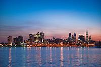 Philadelphia, PA, Sunset, Skyline, Silhouette, Penn's Landing, Delaware River Reflections Phila, Philly, PA