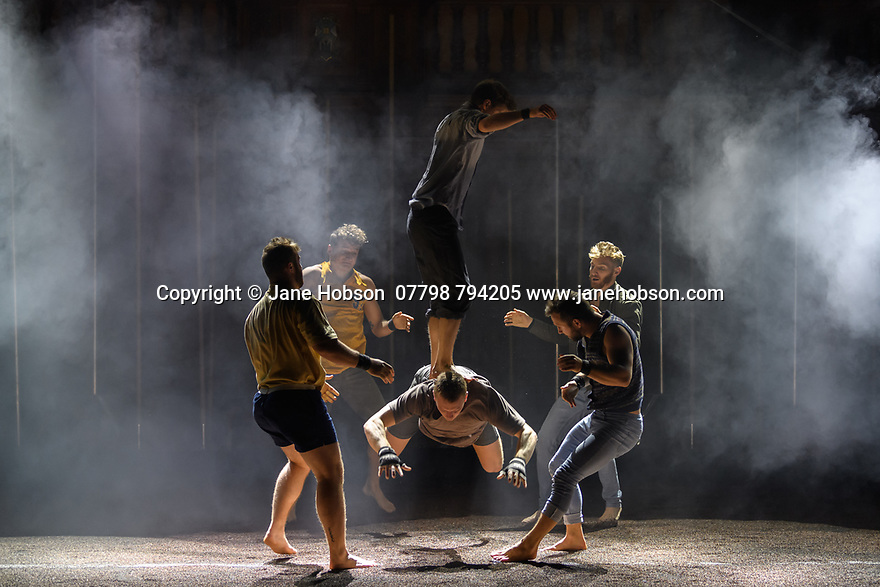 "Edinburgh, UK. 15.08.2019. Underbelly and Gravity and Other Myths present ""Backbone"", in McEwan Hall, Underbelly, as part of the Edinburgh Festival Fringe. Directed by Darcy Grant, with set and lighting design by Geoff Cobham. The performers are: Jacob Randell, Jascha Boyce, Lachlan Binns, Alyssa Moore, Kevin Beverley, Jordan Hart, Rachael Boyd, Lachlan Harper, Joren Dawson, Jackson Manson, Nick Martyn, Alexey Kochetkov. Photograph © Jane Hobson."