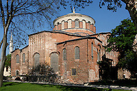 General view of Hagia Eirene church, 4th century, Topkapi Palace, Istanbul, Turkey. Hagia Eirene, or St. Irene Church, was the first church to be built in Istanbul. Commissioned by Emperor Constantine I it hosted the First Council of Constantinople, 381, but the current church results mainly from the rebuilding after an 8th century earthquake. Standing in the first courtyard of the Topkapi Palace, it is the only  Byzantine church in Istanbul to retain its original atrium. The historical areas of the city were declared a UNESCO World Heritage Site in 1985. Picture by Manuel Cohen.