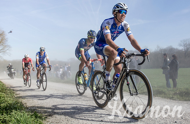Zdenek Stybar (CZE/Quick Step Floors) on the Plugstreet section 2<br /> <br /> 79th Gent - Wevelgem 2017 (1.UWT)