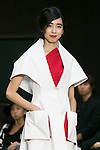 Model Ai Suzuki poses on the catwalk wearing clothes from the tenbo 2016 Spring-Summer Collection during the Mercedes-Benz Fashion Week Tokyo, in Roppongi on October 13, 2015, Tokyo, Japan. tenbo invited people with disabilities to join models and celebrities on the runway in a message of peace. The Mercedes-Benz Fashion Week Tokyo runs from October 12 to 17. (Photo by Rodrigo Reyes Marin/AFLO)