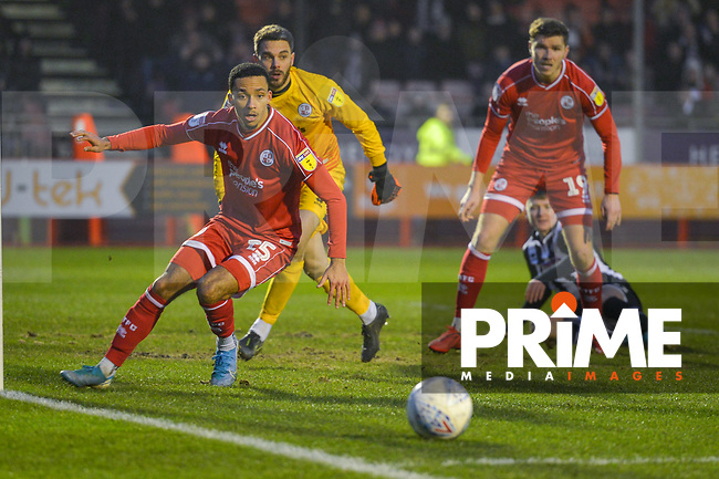 Josh Dacres-Cogley during the Sky Bet League 2 match between Crawley Town and Grimsby Town at The People's Pension Stadium, Crawley, England on 25 January 2020. Photo by Lee Blease.