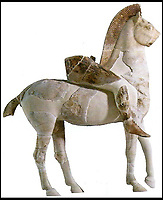 BNPS.co.uk (01202 558833)<br /> Pic: FineArtsMuseumSanFrancisco/BNPS<br /> <br /> Now: Persian horseman from the Acropolis in Athens 470BC.<br /> <br /> The traditional view of the classical world full of austere white marble statue's and buildings has been transformed by a new book - that reveals the ancient world was in fact full of vibrant colours.<br /> <br /> Painstaking new research has discovered that most of the worlds most iconic art works from ancient Greece and Rome were in fact plastered with vibrant colours.<br /> <br /> However over the centuries the bright colours faded due to exposure to the elements and Renaissance maestros like Leonardo da Vinci and Michelangelo working in the 15th century believed it was the norm for sculptures to be white.<br /> <br /> Now, scientists are able to use ultra-violet photography to examine ancient pigment's and recreate how sculptures dating back to the Classical age would have looked.