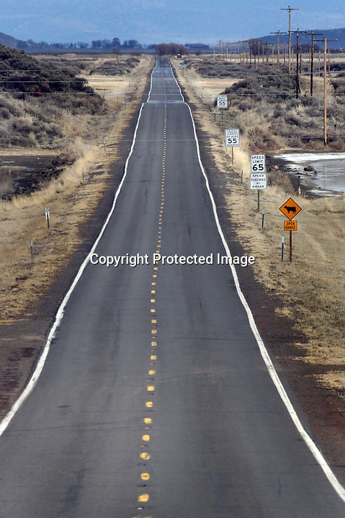 A long straight road leading to Tule Lake California.