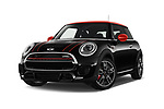 Stock pictures of low aggressive front three quarter view of a 2017 Mini Cooper John Cooper Works 2 Door Convertible