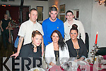 BIRTHDAY GIRL: Sinead Kinsella, Meadowlands, Tralee (centre) celebrated her birthday last Saturday night in Cassidy's, Tralee with her sister Charelle (left) and Ciara Hill and at back l-r: Gavin Breen, Steven Moroney and Craig Lynch.