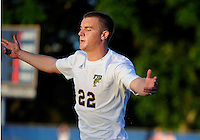 Florida International University men's soccer player Quentin Albrecht (22) celebrates his goal against Florida Atlantic University on August 28, 2011 at Miami, Florida.  The game ended in a 1-1 overtime tie. .