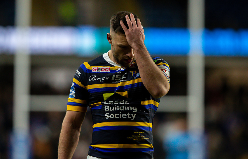 Leeds Rhinos' Luke Gale<br /> <br /> Photographer Alex Dodd/CameraSport<br /> <br /> Betfred Super League Round 6 - Leeds Rhinos v Toronto Wolfpack - Thursday 5th March 2020 - Headingley - Leeds<br /> <br /> World Copyright © 2020 CameraSport. All rights reserved. 43 Linden Ave. Countesthorpe. Leicester. England. LE8 5PG - Tel: +44 (0) 116 277 4147 - admin@camerasport.com - www.camerasport.com
