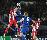 Atletico Madrid's Diego Godin and Leicester City's Leonardo Ulloa<br /> <br /> Photographer Stephen White/CameraSport<br /> <br /> UEFA Champions League Quarter Final Second Leg - Leicester City v Atletico Madrid - Tuesday 18th April 2017 - King Power Stadium - Leicester <br />  <br /> World Copyright &copy; 2017 CameraSport. All rights reserved. 43 Linden Ave. Countesthorpe. Leicester. England. LE8 5PG - Tel: +44 (0) 116 277 4147 - admin@camerasport.com - www.camerasport.com