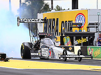 Mar 13, 2015; Gainesville, FL, USA; NHRA top fuel driver Antron Brown during qualifying for the Gatornationals at Auto Plus Raceway at Gainesville. Mandatory Credit: Mark J. Rebilas-