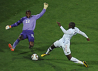 Ghana goalkeeper Richard Kingson gets in the way of Jozy Altidore of USA. Ghana defeated the USA 2-1 in overtime in the 2010 FIFA World Cup at Royal Bafokeng Stadium in Rustenburg, South Africa on June 26, 2010.
