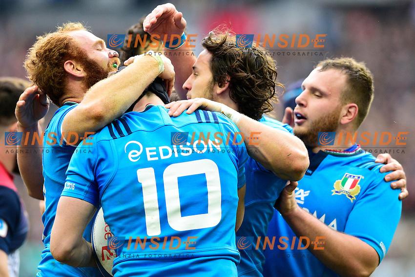 Carlo Canna ( Italie ) Esultanza MEta<br /> Parigi Saint Denis 06-02-2016 Rugby Trofeo 6 Nazioni 2016 Francia Italia Foto Pestellini/Panoramic/Insidefoto