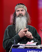 """Phil Robertson, star of A&E network's """"Duck Dynasty,"""" speaks at the Conservative Political Action Conference (CPAC) at the Gaylord National at National Harbor, Maryland on Friday, February 27, 2015. <br /> Credit: Ron Sachs / CNP"""