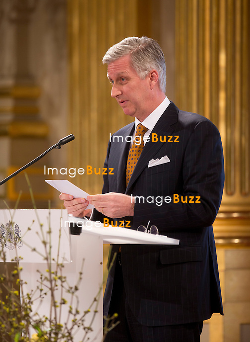 Le roi Philippe a pr&eacute;sente ses v&oelig;ux de nouvel an aux corps constitu&eacute;s (le monde politique, &eacute;conomique, acad&eacute;mique, juridique, etc.), en pr&eacute;sence de la reine Mathilde de Belgique, de la princesse Astrid, du prince Lorenz et du prince Laurent de Belgique, au Palais Royal de Bruxelles.<br /> Belgique, Bruxelles, 29/01/2014.<br /> PIC : King Philippe of Belgium<br /> <br /> King Philippe of Belgium, Queen Mathilde of Belgium,   Princess Astrid of Belgium, Prince Lorenz of Belgium, Prince Laurent of Belgium at a New Year's reception organized by the Belgian Royal Family for the prominent Authorities and Personalities, at the Royal Palace, in Brussels,  Belgium, January 29,  2014.