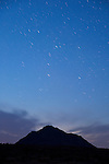 Start trails and the constellation Cassiopeia over Eagle Mountain, Calif.