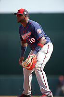 Minnesota Twins first baseman Kennys Vargas (19) during a Spring Training game against the Baltimore Orioles on March 7, 2016 at Ed Smith Stadium in Sarasota, Florida.  Minnesota defeated Baltimore 3-0.  (Mike Janes/Four Seam Images)