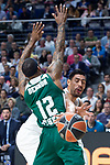 Real Madrid Gustavo Ayon and Panathinaikos Marcus Denmon during Turkish Airlines Euroleague Quarter Finals 4th match between Real Madrid and Panathinaikos at Wizink Center in Madrid, Spain. April 27, 2018. (ALTERPHOTOS/Borja B.Hojas)