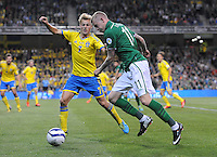6th September 2013; James McClean, Ireland, in action against Sebastian Larsson, Sweden. 2014 FIFA World Cup Qualifier, Group C,  Republic of Ireland v Sweden, Aviva Stadium, Dublin. Picture credit: Tommy Grealy/actionshots.ie.
