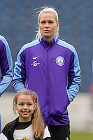 Bridgeview, IL, USA - Sunday, May 1, 2016: Orlando Pride goalkeeper Ashlyn Harris (1) before a regular season National Women's Soccer League match between the Chicago Red Stars and the Orlando Pride at Toyota Park. Chicago won 1-0.