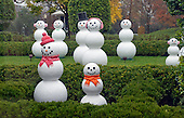 """Some of the fifty-six """"snow people"""" representing each of the 56 states and territories that make-up the United States in the First Lady's Garden as part of the 2015 White House Christmas theme """"A Timeless Tradition"""" at the White House in Washington, DC on Wednesday, December 2, 2015.<br /> Credit: Ron Sachs / CNP"""