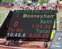 The results board shows Glendale senior Chris Mooneyham's victorious time of 9:06.86 in the Class 4 Boys 3200 meter race at the Class 3-4 Missouri High School State Track and Field Championship Meet, Saturday, May 25, 2013, in Jefferson City.