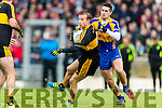 Fionn Fitzgerald Dr Crokes in action against Paul O'Connor Kenmare District in the Senior County Football Championship final at Fitzgerald Stadium on Sunday.