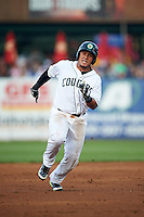 Kane County Cougars catcher Elvin Soto (10) running the bases during a game against the Great Lakes Loons on August 13, 2015 at Fifth Third Bank Ballpark in Geneva, Illinois.  Great Lakes defeated Kane County 7-3.  (Mike Janes/Four Seam Images)