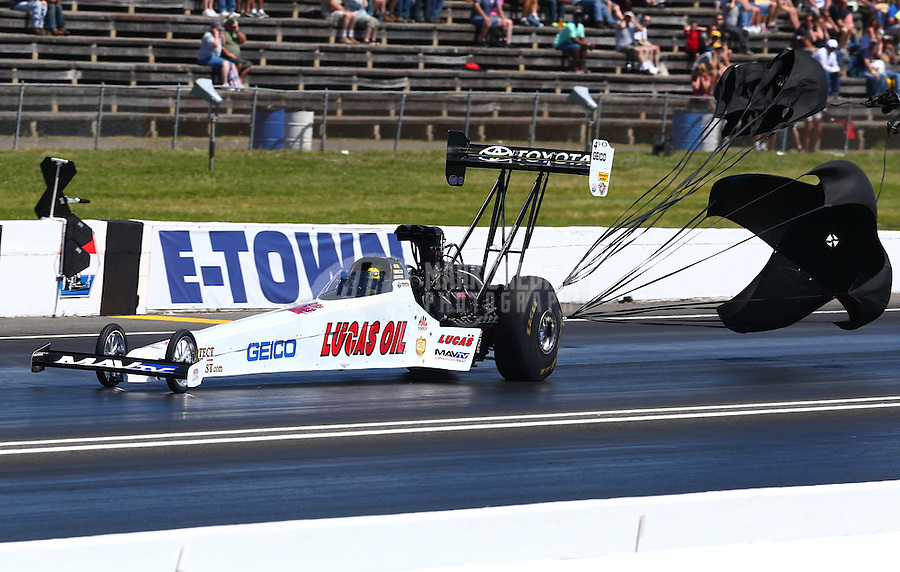 Jun. 1, 2014; Englishtown, NJ, USA; NHRA top fuel driver Morgan Lucas during the Summernationals at Raceway Park. Mandatory Credit: Mark J. Rebilas-